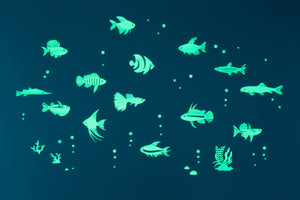 GLOPLAY Glow in the Dark Stickers: Tropical Fish