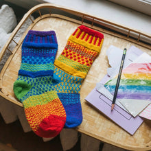 Load image into Gallery viewer, Solmate Socks: Rainbow Adult Crew