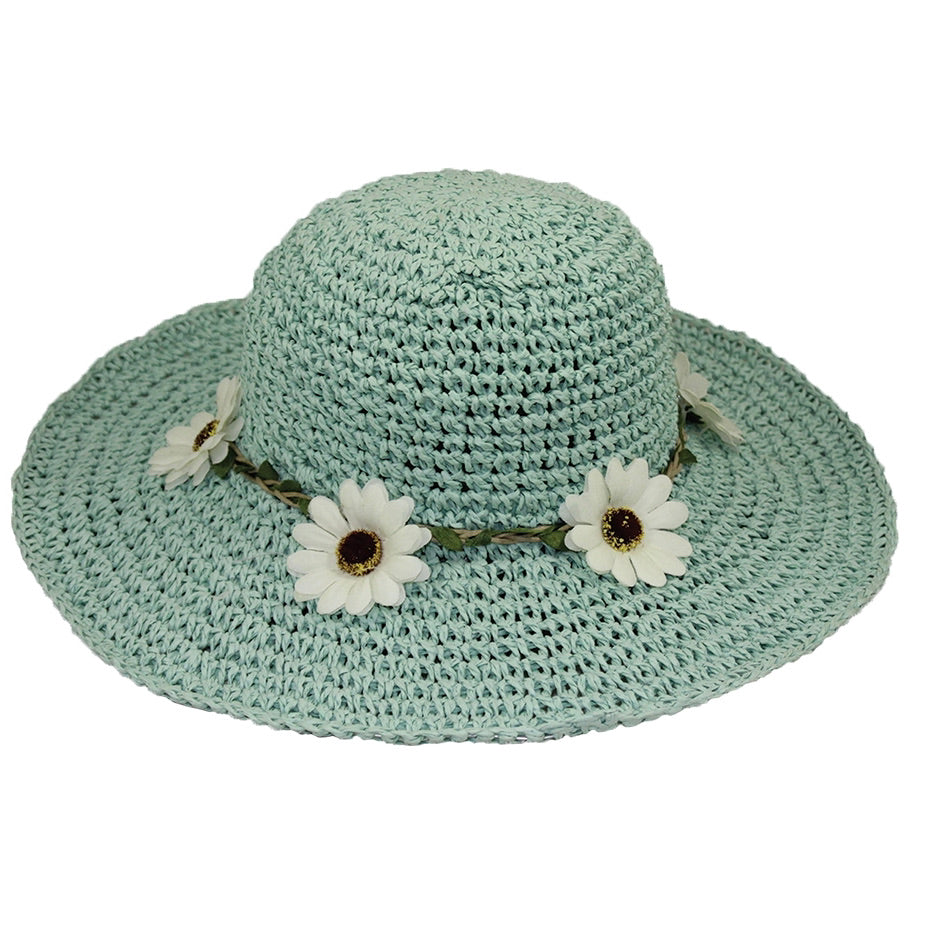 Blue Kids Hat with Flowers