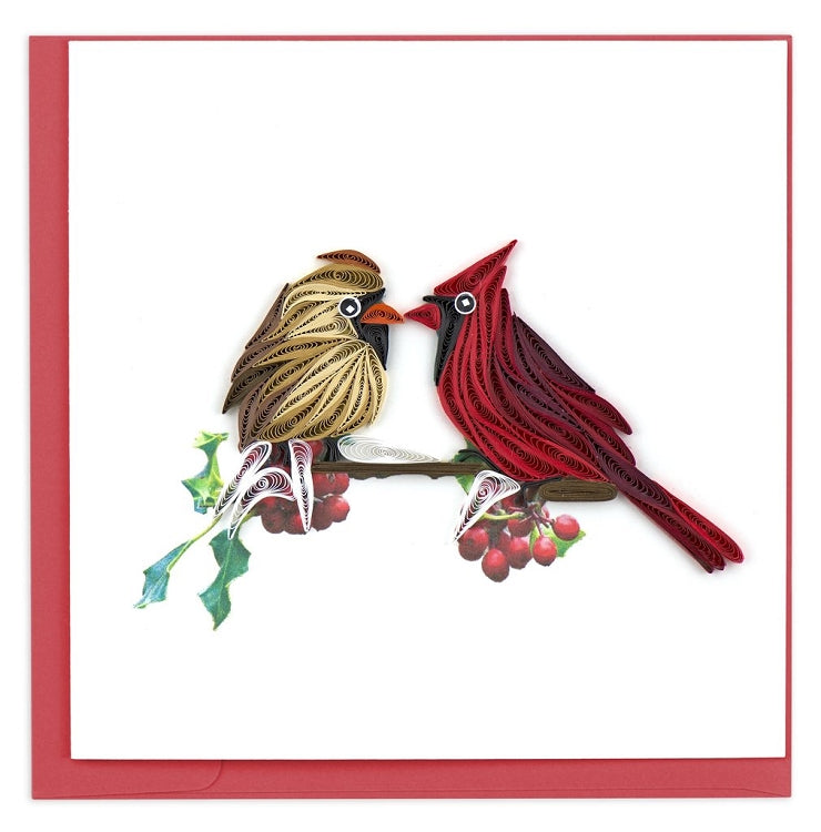 Cardinal Couple Quilled Card