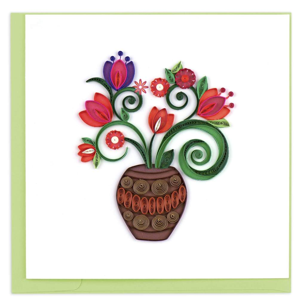 Bouquet in Terracotta Vase Quilled Card
