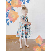 Load image into Gallery viewer, Blue Peony Short Sleeved Twirl Dress