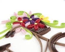 Load image into Gallery viewer, Bicycle w/ Flower Basket Quilled Card