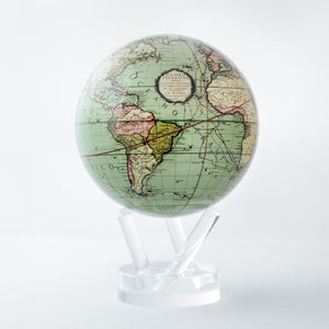 Perpetual Motion Antique Map Globe ~ Green