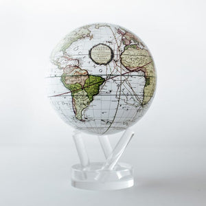 Perpetual Motion Antique Map Globe ~ White