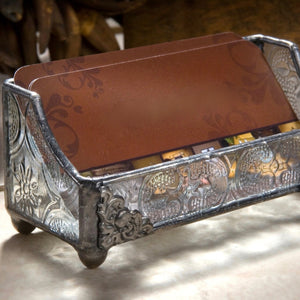 Vintage-style Glass Business Card Holder