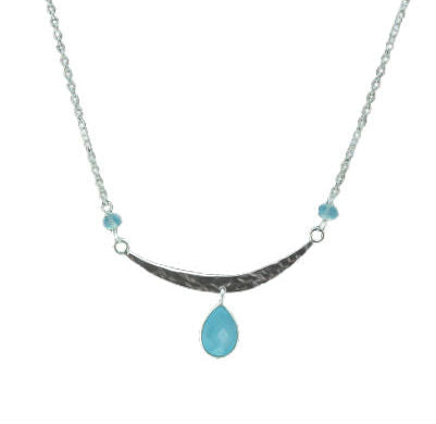 Sterling Silver Necklace with Chalcedony Drop & Beads