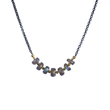 Load image into Gallery viewer, Multi-stone Oxidized Silver Necklace with Gold Vermeil Spacers