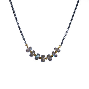 Multi-stone Oxidized Silver Necklace with Gold Vermeil Spacers