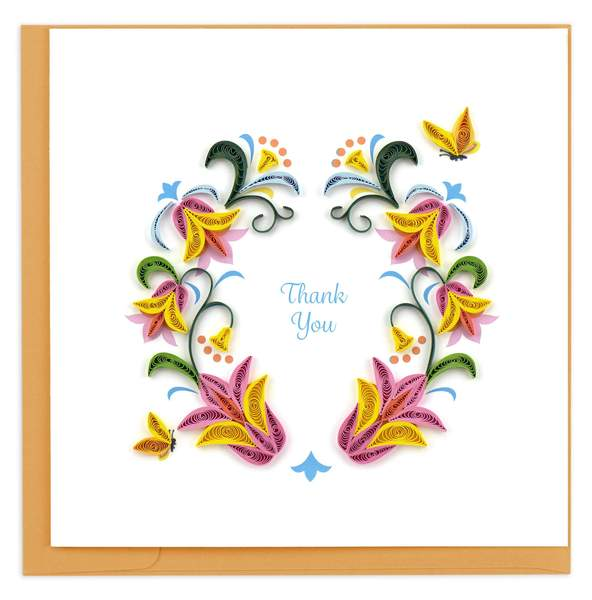 Thank You Flower Wreath Quilled Card
