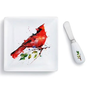 Spring Cardinal Plate with Spreader Set