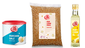 Zutaten Set - 2x Mushroom Mais 500g, Popcornsalz Butter Style 300g, Popcornöl 250ml