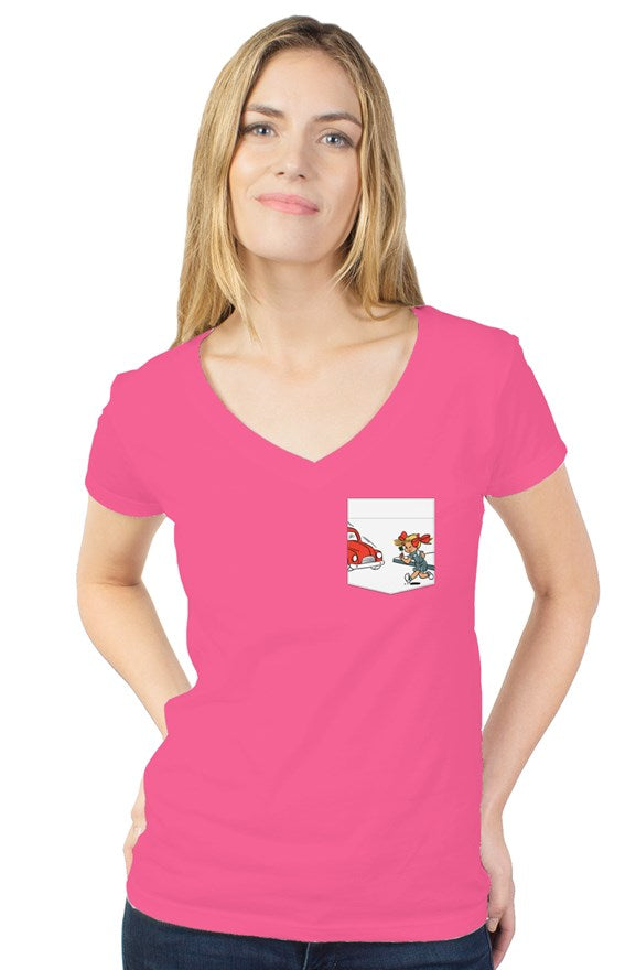 LITTLE LUCY - womens tultex v neck