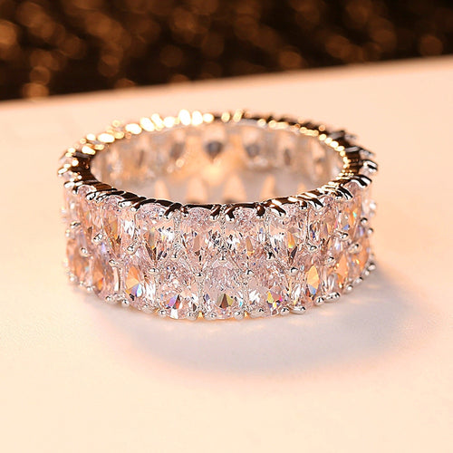 Boho Female Big Crystal Zircon Stone Ring Luxury Fashion 925 Silver Love Engagement Ring Vintage Wedding Rings For Women