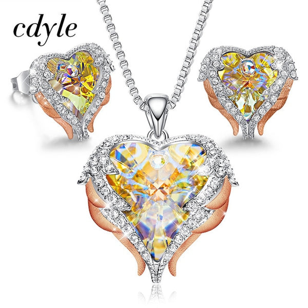 Cdyle Angel Wings Heart Shaped Necklace Earrings Set Wedding Bridal Womens Jewelry Sets with Top Quality Crystal 10 Color