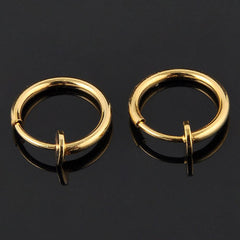 LNRRABC 2pcs Invisible No Ear Hole Earrings Clip Nose Ring Belly Button Ring For Unisex Punk Wind Jewelry Accessories