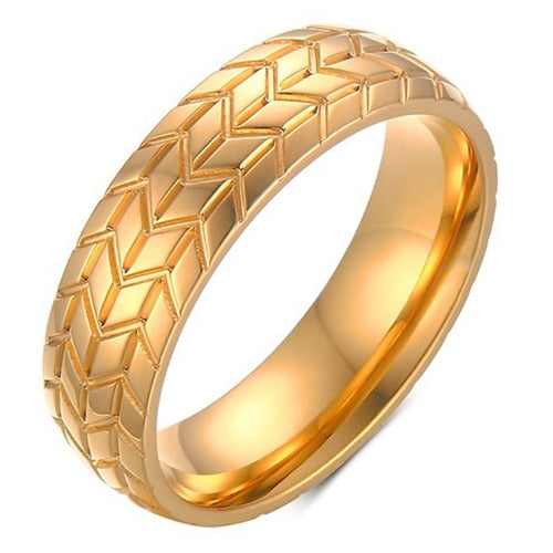 New 6MM Stainless Steel Tire Ring Gold Color European and American Style jewelry Personality Men's Ring