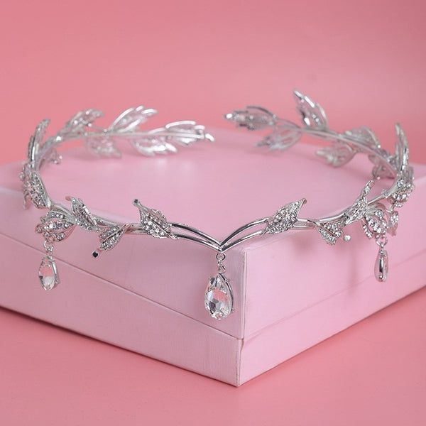 Luxury Crystal Crown Bridal Hair Accessories Wedding Rhinestone Waterdrop Leaf Tiara Crown Headband Frontlet Brides Hair Jewelry