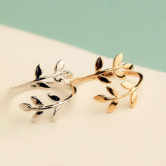 Gold Silver Black Color Olive Tree Branch Leaves Open Ring for Women Girl Wedding Rings Adjustable Knuckle Finger Jewelry Xmas