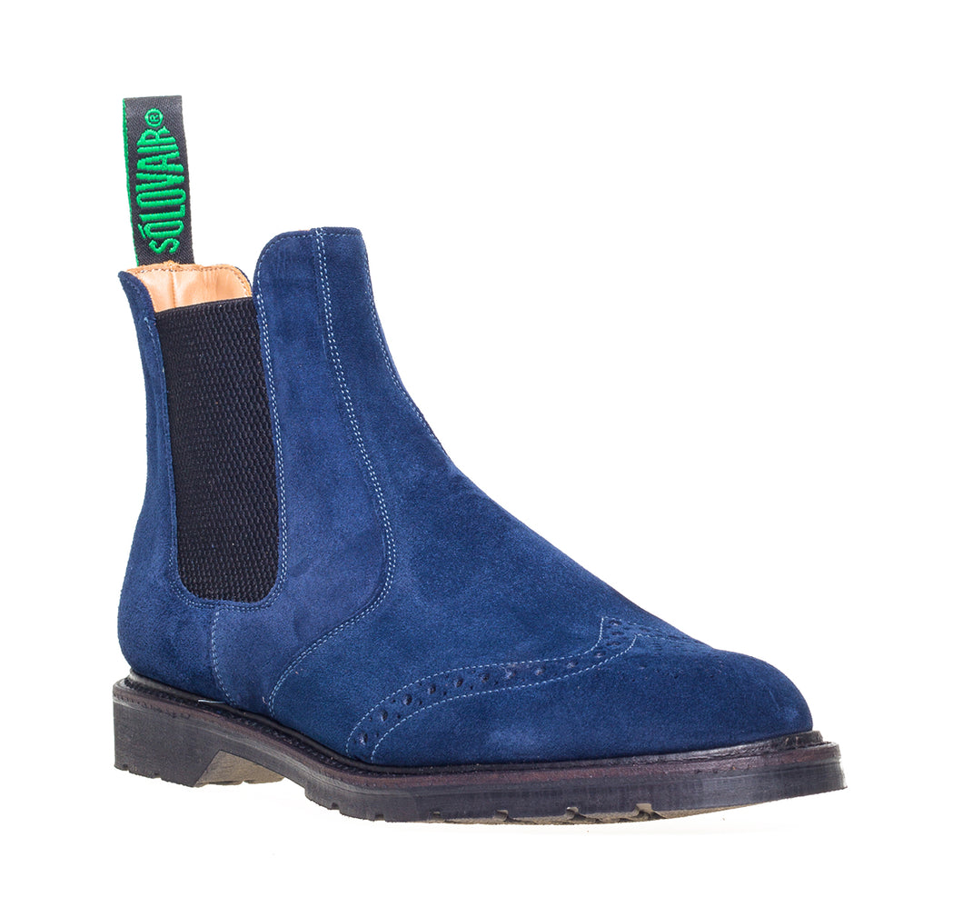 Soloviar Navy Suede Punched Dealer Boot