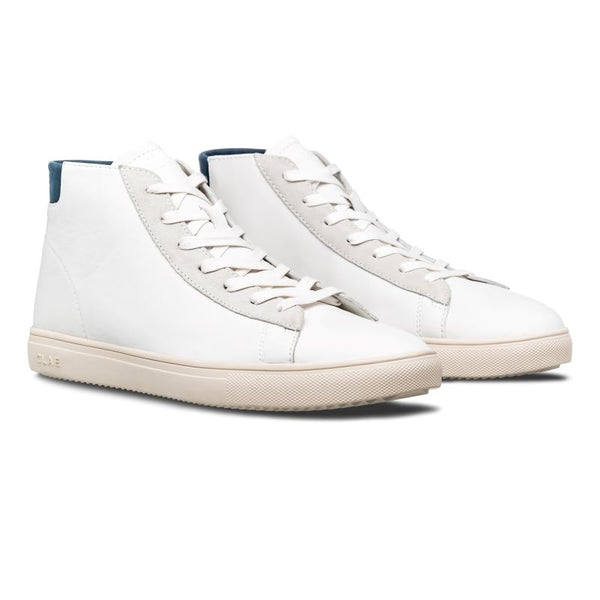 Clae Bradley Mid White Leather Ensign Blue Sneakers