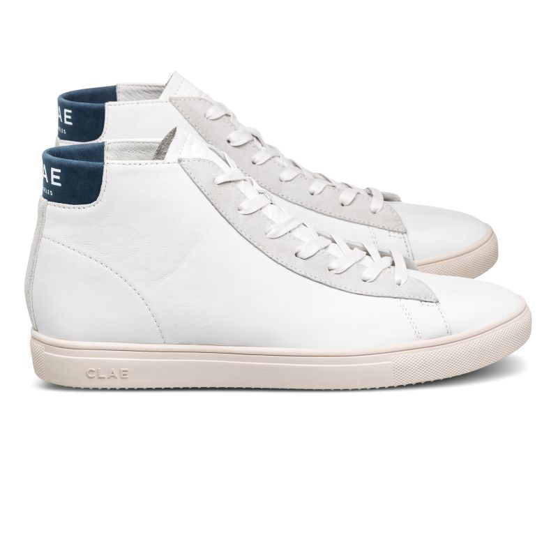 Clae Bradley Mid Sneaker White Leather Ensign Blue