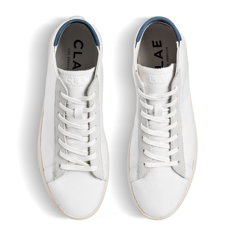 Clae Bradley Mid White Leather Ensign Blue