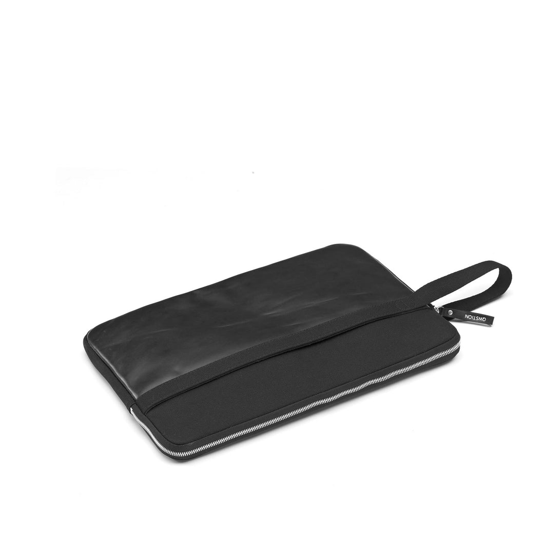 QWSTION Laptop Sleeve Black Leather Canvas 13