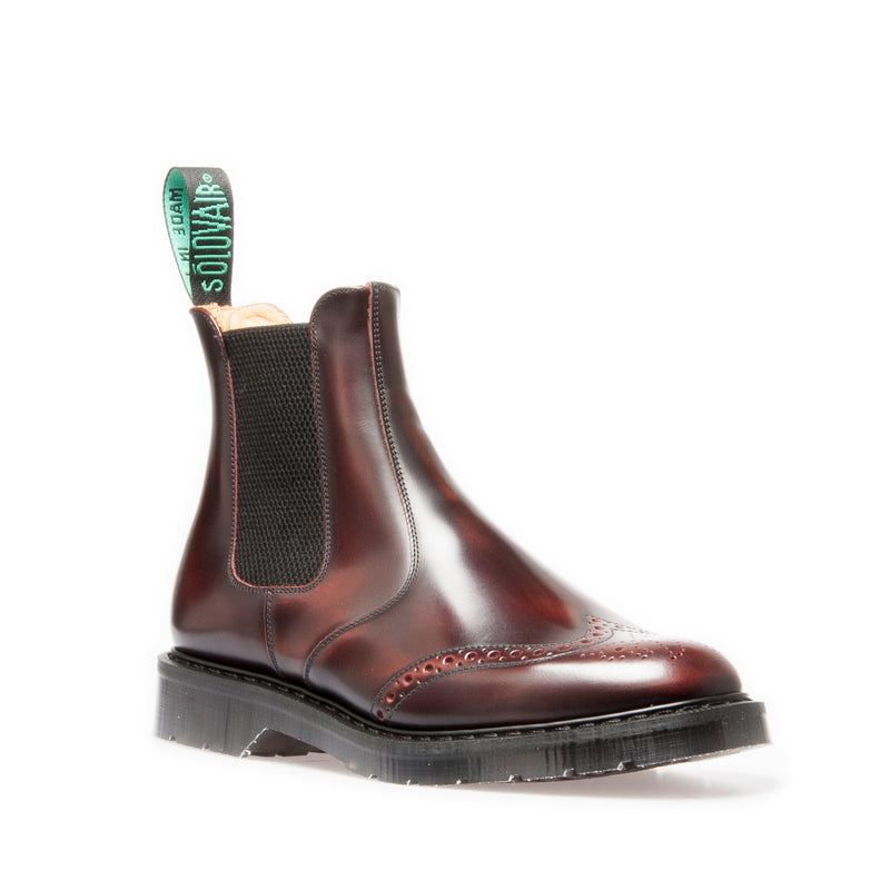 Solovair Burgundy Rub-Off Punched Dealer Boot