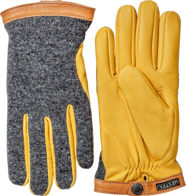 Hestra Deerskin Wool Tricot Charcoal - Natural Yellow
