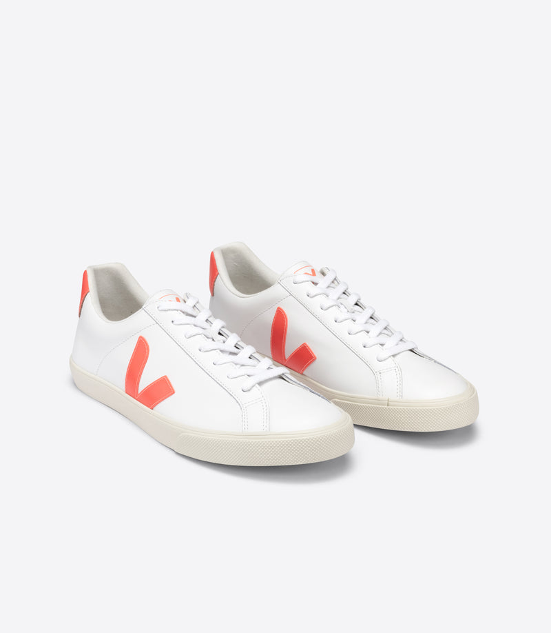Veja Esplar Leather Extra-White Orange-Fluo