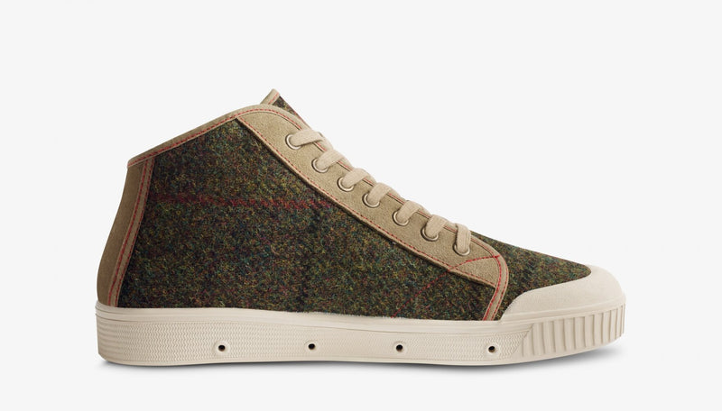 Spring Court B2 Suede Brown/Green Harris Tweed