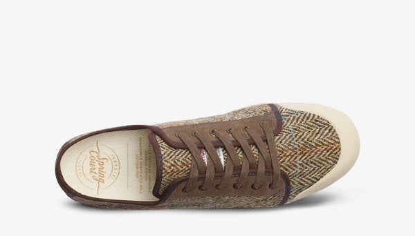 Spring Court G2 Suede Brown/Beige Harris Tweed