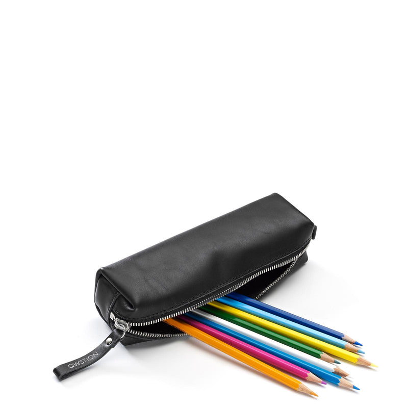 QWSTION Pencil Pouch Black Leather