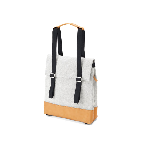 QWSTION Small Tote Raw Blend Leather Canvas