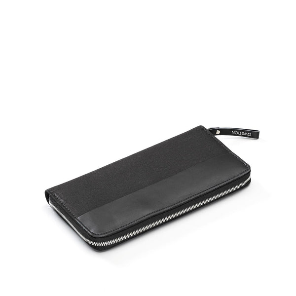 QWSTION Travel Wallet Black Leather Canvas