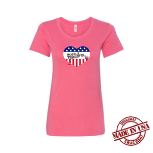 Mostly Peaceful Heart Ladies T-Shirt - Pink