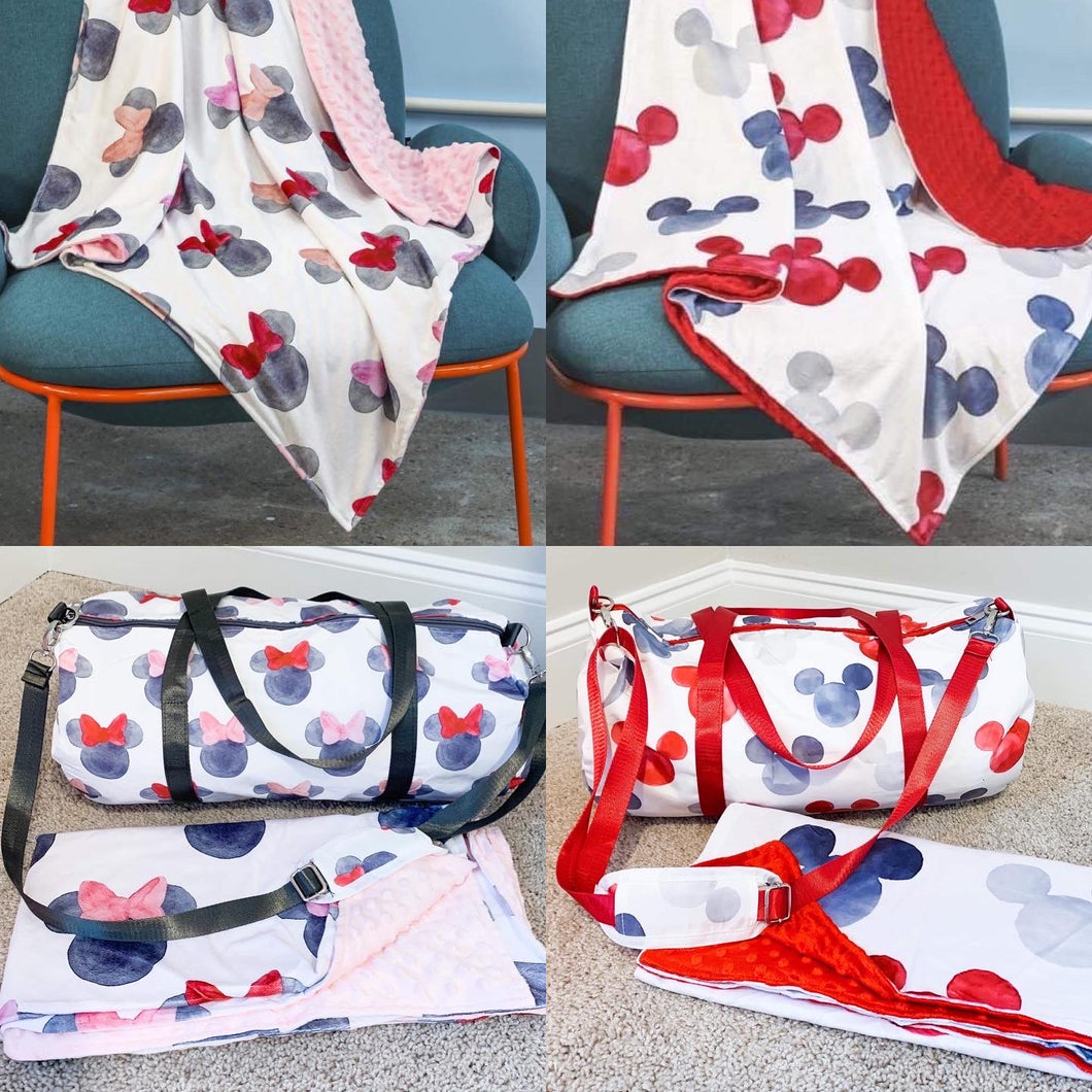 Watercolor MINNIE + MICKEY Minky Dot Blankets
