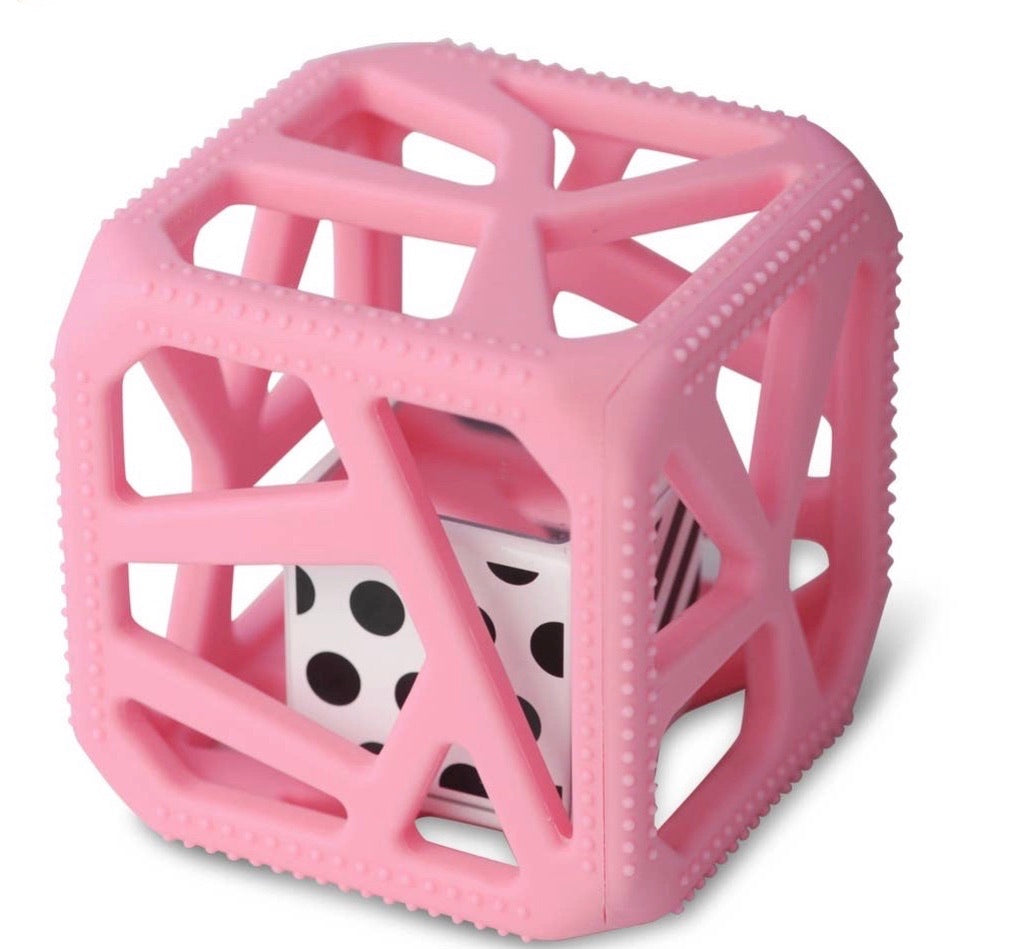 Pink Chew Cube Teether Toy