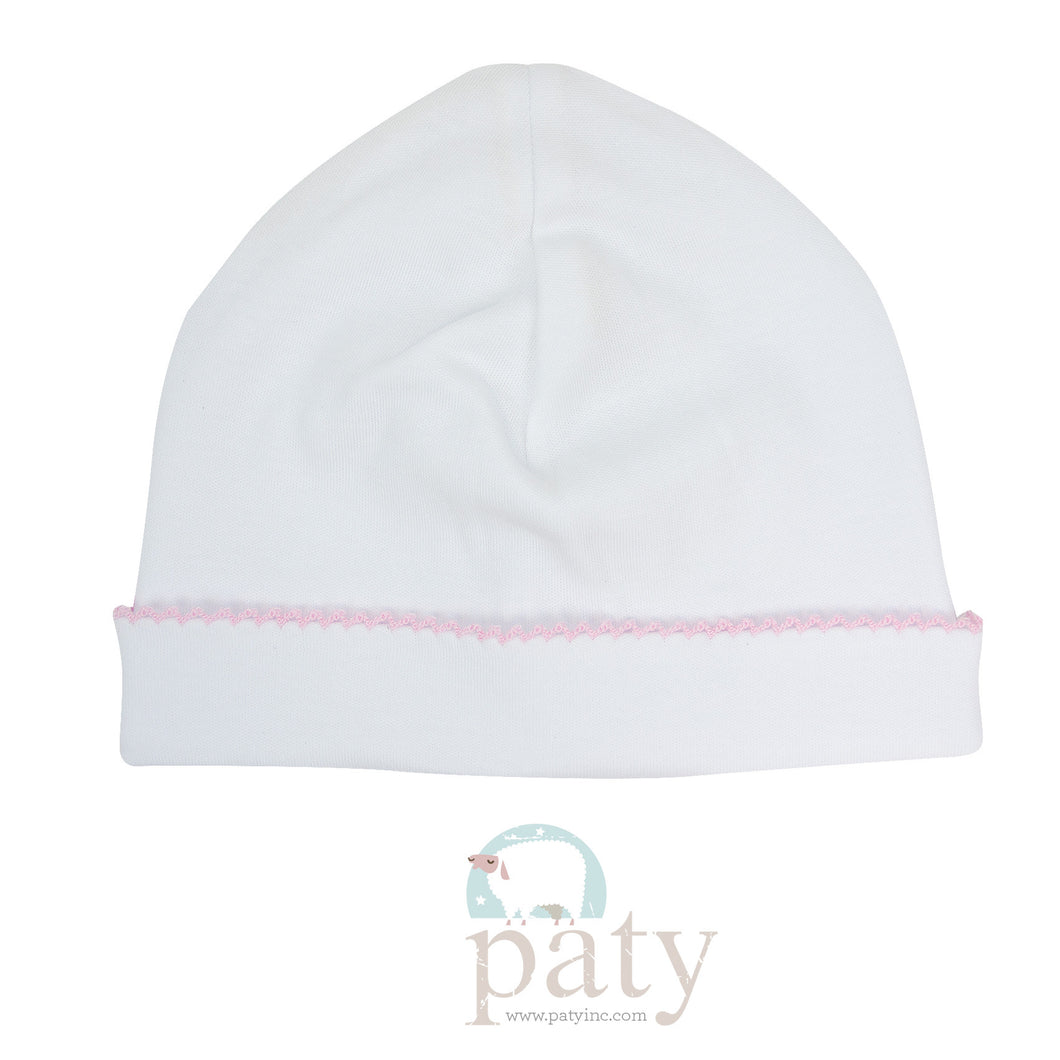 White with Pink Trim Hat (OS)