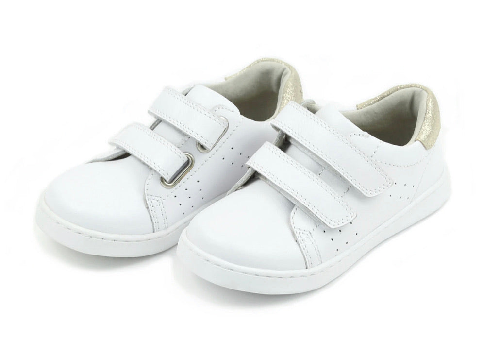 L'Amour White Leather Two Strap Sneakers