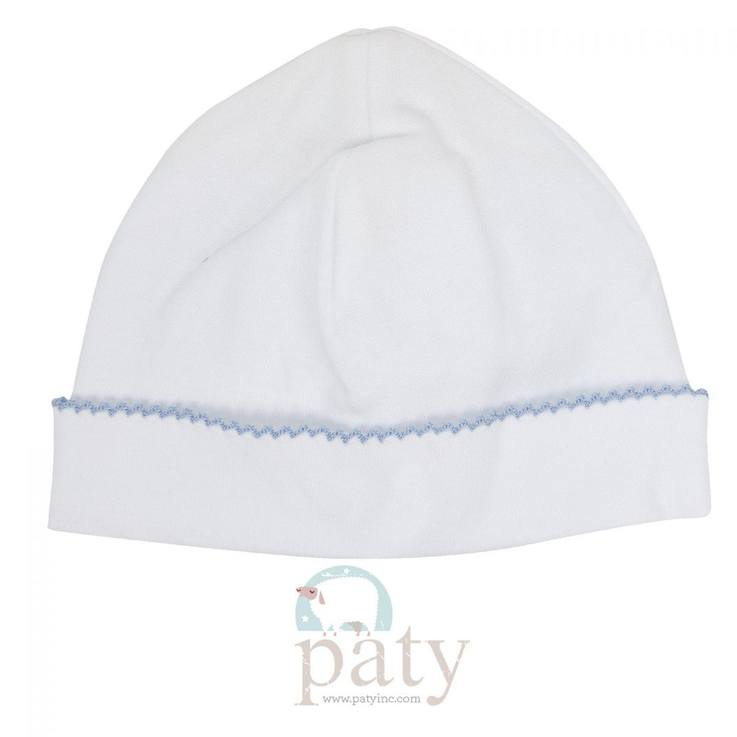 White with Blue Trim Hat (OS)