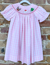 Load image into Gallery viewer, Pink Gingham Smocked Christmas Dress