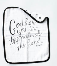 Load image into Gallery viewer, Isaiah 49:16 Reversible Organic Burp Cloth