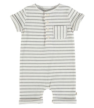 Load image into Gallery viewer, Striped Ribbed Henley Romper