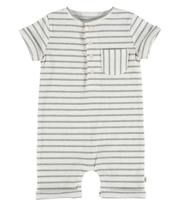 Striped Ribbed Henley Romper