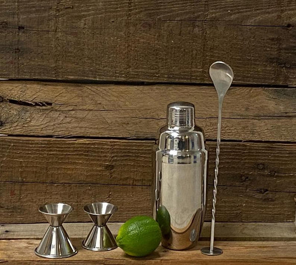 Basic Cocktail Shaker Kit (4 Piece Bar Tools Set).