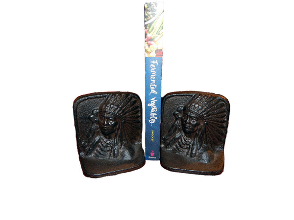 Cast Iron Vintage Chief Bookends