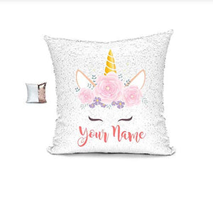 YUUNITY Personalized Unicorn Reversible Sequin Pillow, Custom Unicorn Sequin Pillow Gifts(White/Rose Gold) for Girls