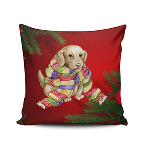 WULIHUA Throw Pillow Cases Sofa Cushion Cover Home Decoration Hot Pink Black Lab Merry Christmas Design Square Custom Pillowcase Size 20X20 Inch Simple and Elegant Double Sides Printed